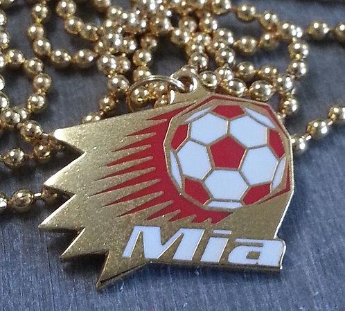 Mia #9 1999 RED & WHITE WHITE SOCCER BALL PENDANT