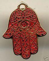 "Hamesh HAMSA Hand Red & GOLD 1-1/8"" Lapel Pin"