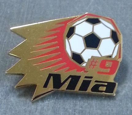 Mia #9 1999 BLACK & WHITE SOCCER BALL Lapel Pin