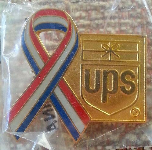 R/W/B Ribbon with GOLD UPS Logo Lapel Pin