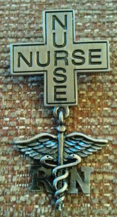 Registered NURSE CROSS & CADUCEUS w/Safety Clasp