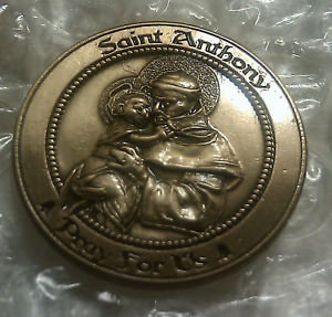 """Saint Anthony """"Pray for Us"""" Antique Gold Lapel Pin"""