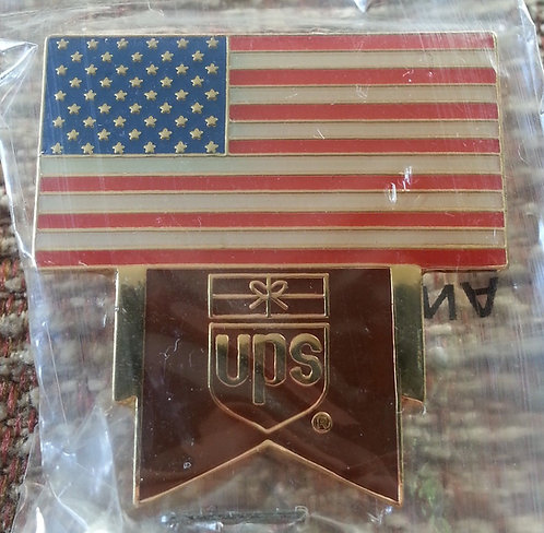 UPS (large version) US Flag with UPS Logo Pin