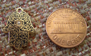 "Hamesh HAMSA Hand Black & GOLD 3/4"" Lapel Pin"