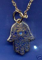 "Hamesh HAMSA Hand BLUE & GOLD 3/4"" Pendant"