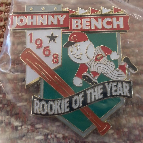 JOHNNY BENCH 1968 ROOKIE OF THE YEAR - Lapel Pin