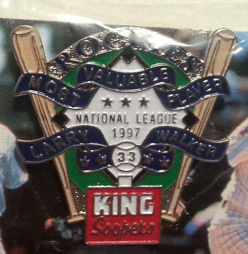 """""""LARRY WALKER 1997 MVP"""" 1998 Lapel Pin - #1 of 4"""