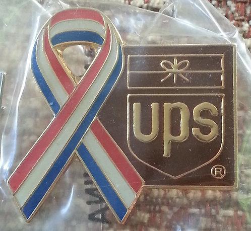 SMALL VERSION R/W/B Ribbon with BROWN UPS Logo PIN
