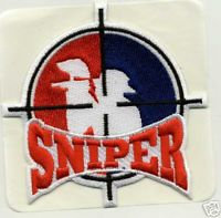 PAINTBALL Red/White/Blue SNIPER Embroidered Patch