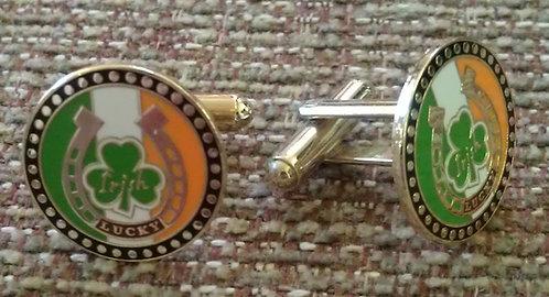 IRISH Horseshoe Shamrock Ireland Flag Cuff Links