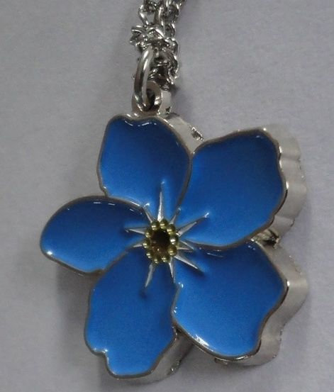 """FORGET ME NOT FLOWER Pendant w/24"""" Chain"""