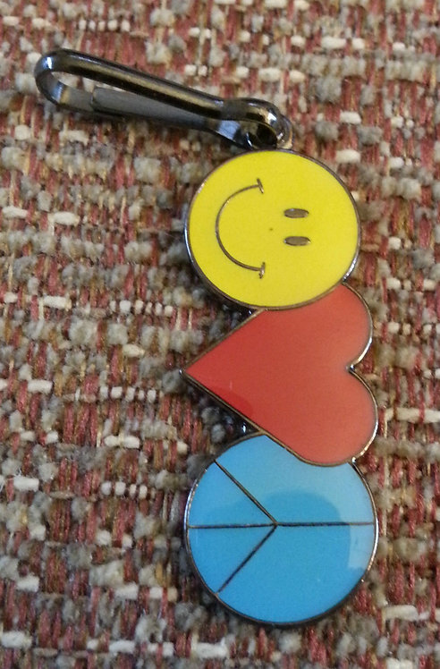 HAPPY FACE / HEART / PEACE SYMBOL ZIPPER PULL