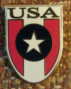 USA Red White & Blue Stars & Stripes Shield Lapel