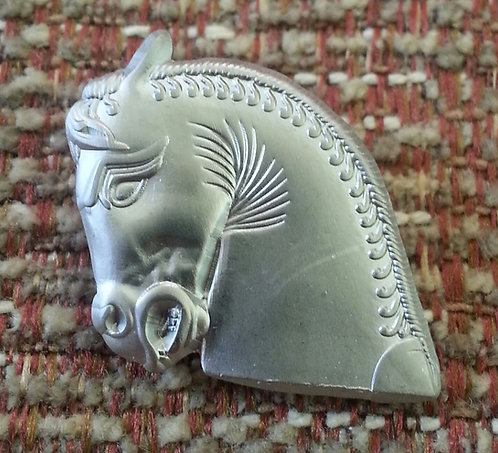 PERSIAN 3-D SCULPTURED Horse Head Lapel Pin
