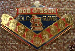 Bob Gibson 9 Gold Glove Awards Lapel Pin