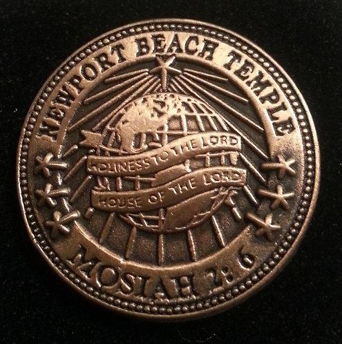 """NEWPORT BEACH TEMPLE """"Mosiah 2:6"""" Lapel Pin"""