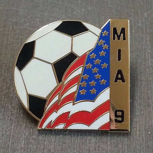 Mia #9 SOCCER BALL WITH AMERICAN FLAG Lapel Pin