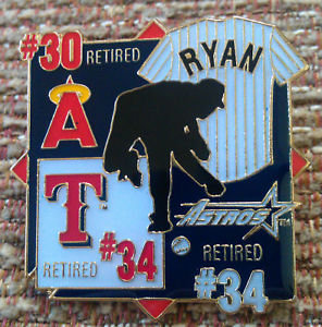 NOLAN RYAN RETIRED JERSEYS Lapel Pin
