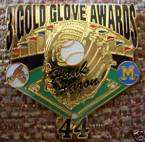Hank Aaron 3 Gold Gloves Lapel Pin