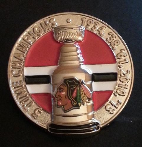 BLACKHAWKS 3-D NHL STANLEY CUP CHAMPIONS Lapel Pin