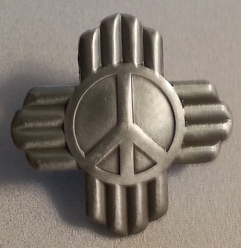 PEACE SYMBOL with RAYS Antique Nickel Lapel Pin