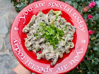 Creamy Mushroom Stroganoff with Zucchini Ribbon Noodles