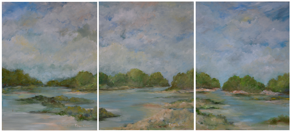 Hope Brannon, Mobile Estuary, Tryprich, Acrylic on Canvas, 18 x 72, $3200