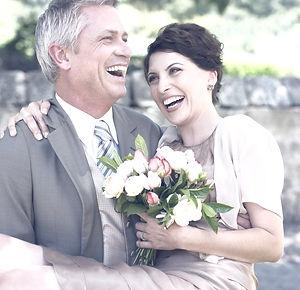 happy bride with prenuptial agreement