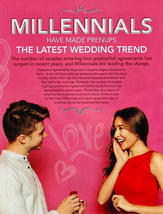 Millennials want prenups before getting married Virginia Bride Magazine Article