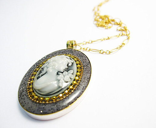 Grey white cameo necklace
