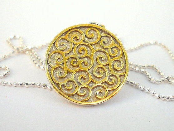 Spirals filigree Gold plated pendant necklace
