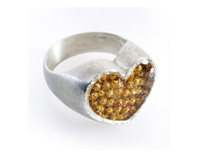 Silver heart ring with gold dots