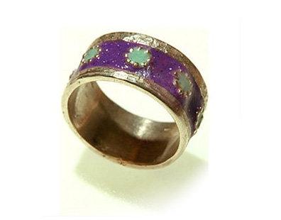 Purple Green flowers ring