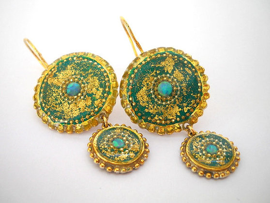 Opal earrings, Gold Green Earrings