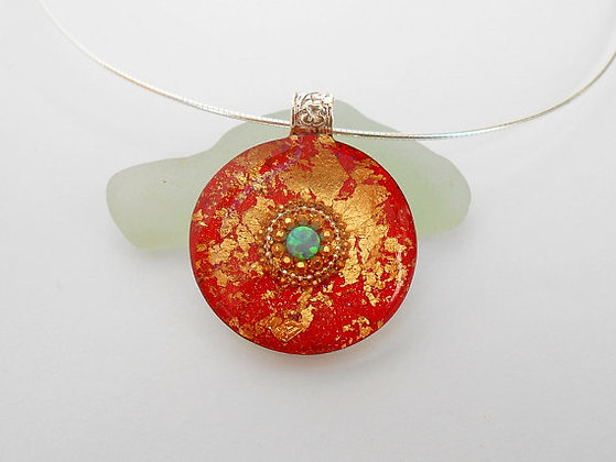 Red gold necklace Blue Opal pendant