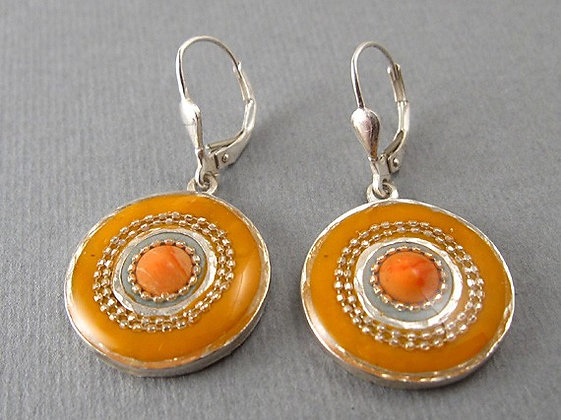 Orange earrings with red coral