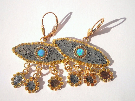 Ethnic silver earrings with Turquoise Opal