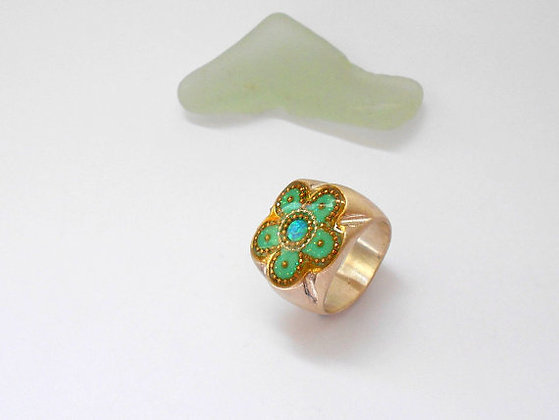 Opal flower ring Blue Opal and golden dots