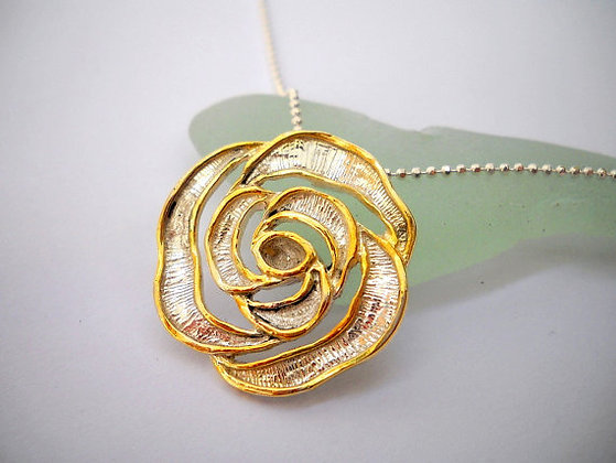 White Rose pendant gold white flower
