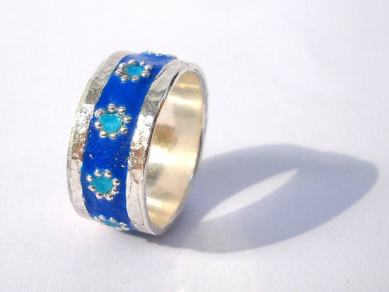 Blue silver ring with Mint flowers
