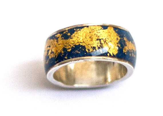 Blue gold ring  with gold foil finished  navy blue