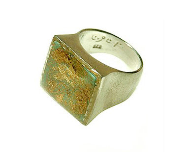 Mint green square  ring with gold foil