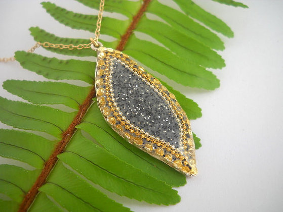 Grey Gold leaf pendant