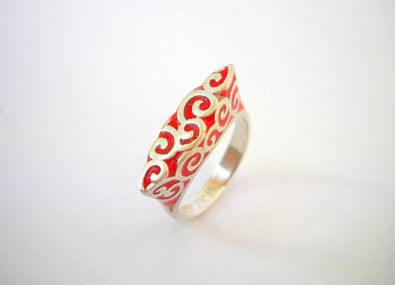Red Silver Waves ring