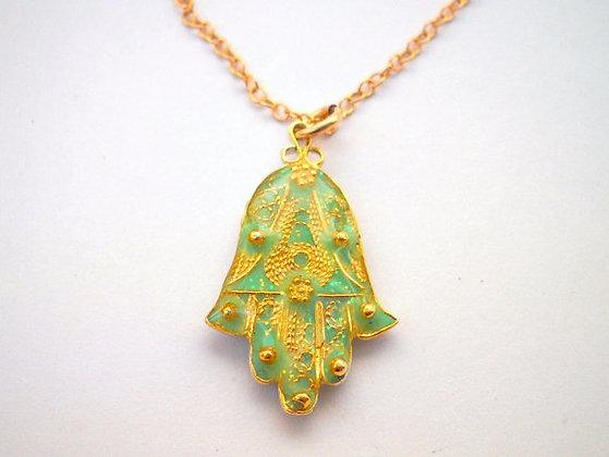 Gold Green Hamsa necklace