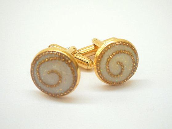 Women Gold and White Cufflinks