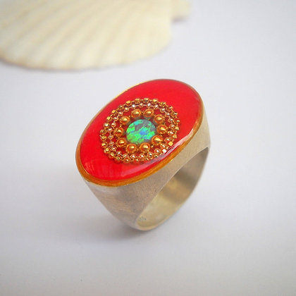Opal sterling silver ring Red ring