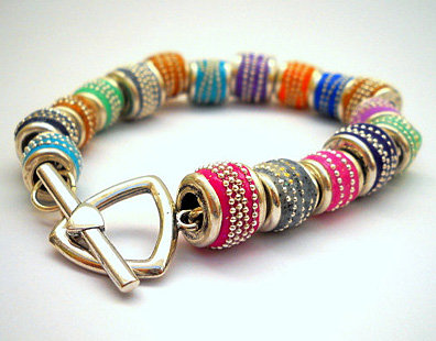 Sterling silver bracelet with multi color beads