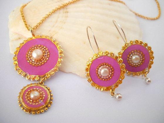 Pearl set Pink jewelry set