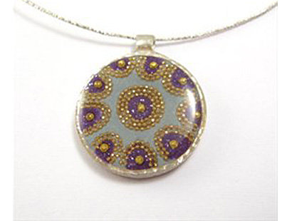 Flower  gold and purple pendant necklace